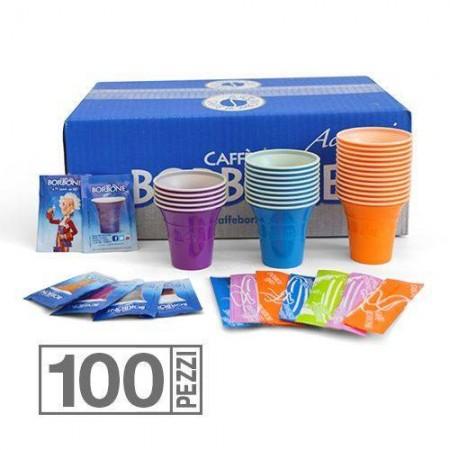 Kit 100 Bicchieri Palette e Zucchero Borbone